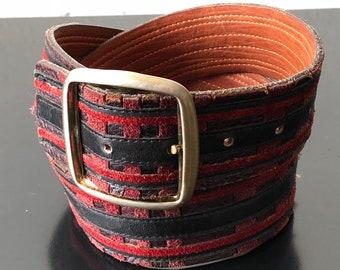patchwork suede leather belt - M