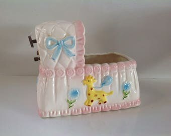 Vintage Relpo Baby Nursery Musical Bassinet, Vintage Baby Room Decor, Ceramic Cradle Planter, Pink and Blue Nursery Decor, Rock A Bye Baby