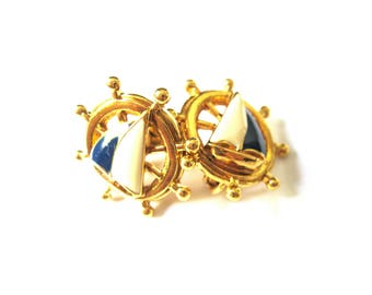 Sailboat Boat Wheel Navy Blue Gold Large Statement Clip On Earrings Avon Nautical Beach