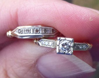 Art Deco wedding set with a European cut  diamond  Engagment Ring BEAUTIFUL  diamond yellow and white gold