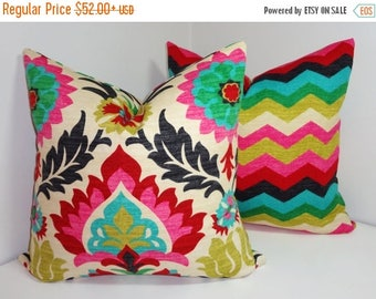 FALL is COMING SALE Pillow Cover Set Waverly Santa Maria Desert Flower & Panama Wave Pillow Covers Decorative Pillow All Sizes