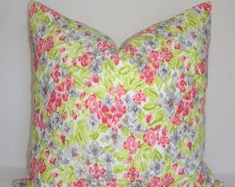 Dena Design Pink Green Grey White Flowers Floral Linen Pillow Cover Decorative Home Decor Size 18x18