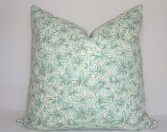 Ivory Blue Green Seafoam Leaves Leaf Print Pillow Cover Decorative Home Decor Size 18x18