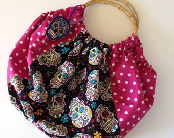 Sugar Skulls Charm Bamboo Handle Fabric Bag|Rockabilly|Kitsch|Pinup|Day of the Dead