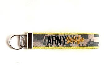 Yellow Army Wife Nametape Key Fob Custom Made for You