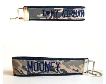 Navy Air Force Keychain ~ I heart my Airman ~ Lastname