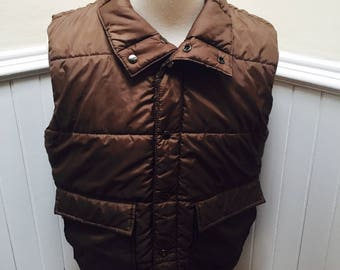 Vintage 1970s Brown Puffy Quilted Vest by Sears Mens Store- L