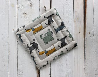 Pot Holder with Dog pattern, Linen Pot Holder, Kitchen accessories for her, 2018 Year of the dog, Valentine's day gift for cook or baker