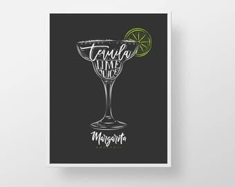 Cocktail Bar Print - Margarita bartender print wall decor art modern kitchen retro liquor cocktail tequila mixed drink quote sign poster