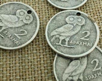 antique silver owl pendants