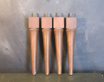 "Set of Four Mid Century Modern 9.5"" Tapered Wooden Furniture Legs"