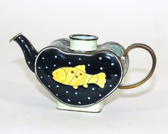 Vintage Kelvin Chen Teapot Fish Design Black Yellow Turquoise | Vintage  1999 Kelvin Chen Small Teapot