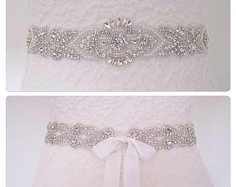 Crystal Bridal sash wedding dress belt vintage style pearl bridal sash, Kim