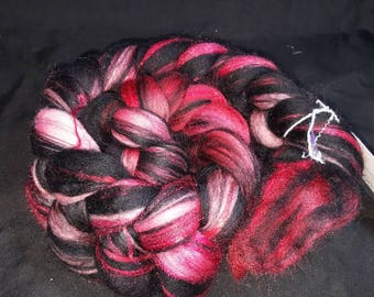 Stained Glass Merino Firestar combed top. Roses