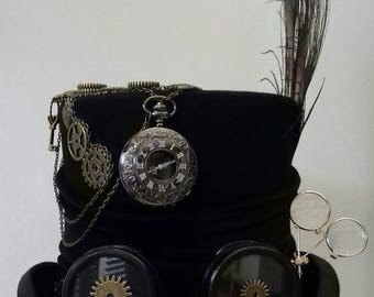 steampunk cogs & gears black top hat