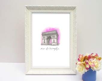 Illustrated Arc de Triomphe, Paris, France - A5 print