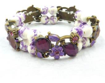 Amethyst Panel Slider Bracelet, Amethyst Stretch Bracelet, Porcelain Bracelet, Small Wrist Bracelet, Cuff Bracelet