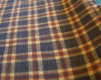 "Denim Blue Plaid Homespun 100% Cotton Fabric 34"" x 44"""