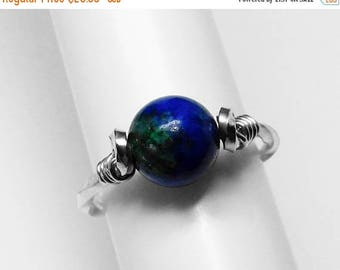 Azurite Ring in Silver or Gold, 8.5 & 6.5 mm