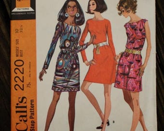 25%off Sizzlin Summer Sal McCall 2220 1960s 60s Mod Mini Dress Vintage Sewing Pattern Size 10 Bust 32.5