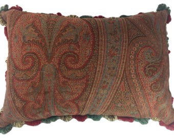 Elegant Antique Wool Paisley Pillow