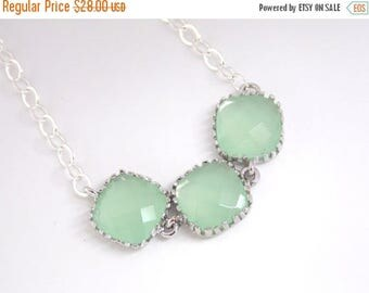 SALE Mint Necklace, Silver Green Necklace, Bridesmaid Jewelry, Bridesmaid Necklace, Sterling Silver, Weddings, Bridal Jewelry, Bridesmaid Gi