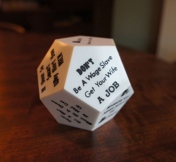 Vintage DODECAHEDRON Desktop Novelty Souvenir with humorous and not-so humorous office jargon.