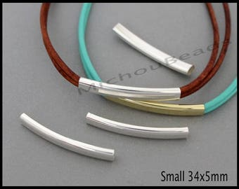 6 SILVER 34mm Curved Tube Beads - SMALL 34X5mm w/ 4mm Hole Noodle - Curved Rectangle Oval Tubes for Leather Cord wrap Bracelets - 6977