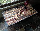 """Reclaimed Barnwood Coffee Table for Kelsey 42""""x18""""x18""""H in a mosaic pattern with hairpin legs"""