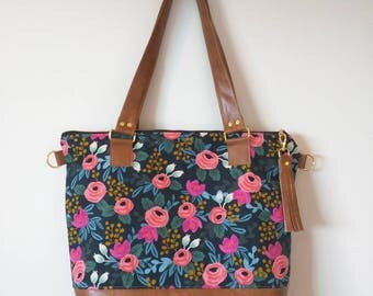 Rifle paper navy floral tote with brown faux leather