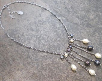 Peacock Pearl dangle necklace with Stainless Steel chain and freshwater pearl accents Adjustable pearl necklace