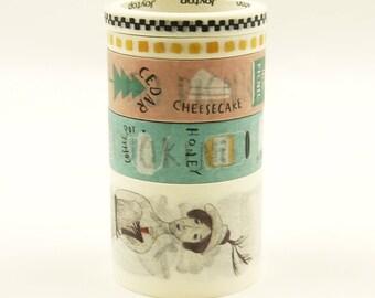 Streamlined - Japanese Washi Masking Tape Box Set - 5 rolls - 3.3 Yard (each roll)