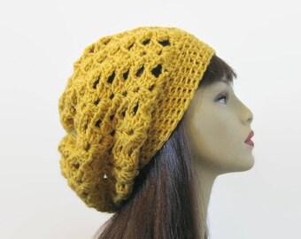 Crochet Slouchy mustard hat Gold Crochet Hat Yellow beanie Mustard Slouch Hat Gold knit beanie Mustard slouchy hat old Slouch Cap gold tam