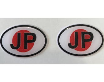 "Japan JP Domed Gel (2x) Stickers 0.8"" x 1.2"" for Laptop Tablet Book Fridge Guitar Motorcycle Helmet ToolBox Door PC Smartphone"
