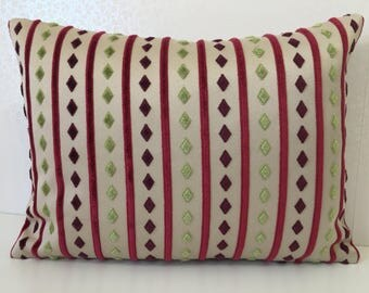 Putty linen cushion cover Magenta pink stripe pillow Apple green diamond pattern pillow PINK velvet pillow GREEN velvet pillow MoGirl DESIGN