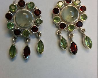 Peridot and Garnet sterling silver earrings