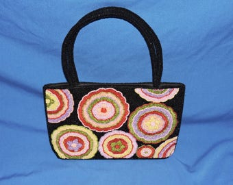 Vintage 80s Black Pink Purple Beaded Flower Purse Hippie Boho Handbag Fully Beaded Yellow Green Red Floral