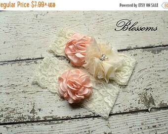 SALE BLUSH IVORY Bridal Garter Set - Keepsake & Toss Lace Wedding Garters - Chiffon Flower Pearl Garters - Blush Pink Garter - Bridal Garder