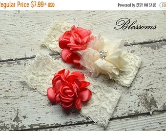 SALE CORAL IVORY Bridal Garter Set - Keepsake & Toss Lace Wedding Garters - Chiffon Flower Pearl Garters - Beach Wedding - Bridal Garder