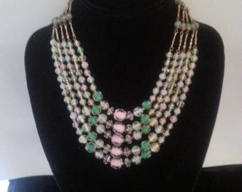 On Sale 1940's Glass Necklace - Pink Green White Glass Beaded Necklace - Vintage 5 Strand Necklace - Statement Necklace