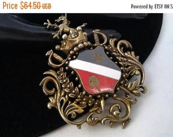 On Sale Fleur De Lis Lion Dragon Crown Shield Brooch, Vintage Fashion Jewelry Figural Pin, 50's 60's Collectible Medieval Coat Of Arms