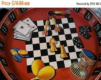 On Sale Vintage Gambling Tray Collectible Chess Darts Dominoes Ping Pong Checkers Poker Card Dice Roulette Game Entertaining Tray