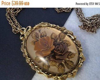On Sale Max Factor Perfume Compact Necklace -  Mid Century Collectible - 1960's 1970's Victorian Rose Style Compact