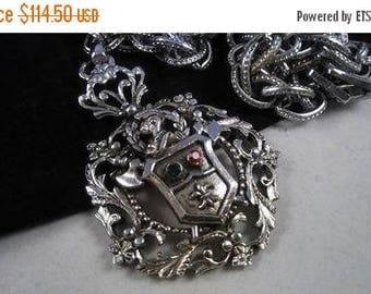 ON SALE BARCLAY Signed, Vintage Necklace, Designer Signed 1950's Jewelry, Goth Steampunk Rocker Style