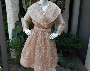 Vintage 1950's Beige Organdy Dress - Size 12