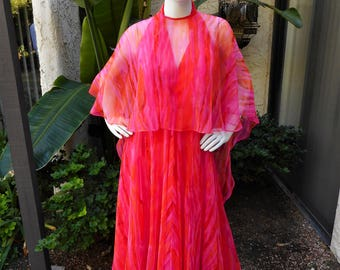 Vintage 1970's Jack Bryan Pink and Orange Print Chiffon Halter Evening Dress wirh Capelet - Size