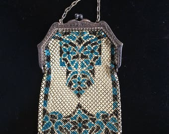 1920s Blue, Black & Cream Metal Enamel Painted Flapper Purse Made By Mandalian Mfg Co - Great Gatsby Era Fashion
