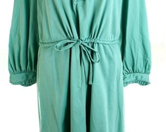 Vintage 60s Green Peter Pan Collar Drawstring Shift Dress UK 14 US 12