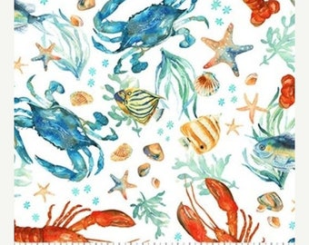 20 % off thru 9/19 OCEAN TIDES Northcott by the yard cotton quilt fabric Sea Life lobster sand crab seaweed starfish on white  21520-10