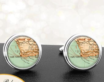 Antique Map Cufflinks Cape Town South Africa Cuff Links for Groomsmen Groom Fiance Anniversary Wedding Fathers Dads Men